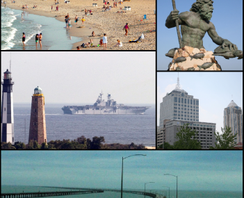 Clockwise from top left: Oceanfront beaches; King Neptune statue; Town Center skyline; Chesapeake Bay Bridge-Tunnel; Cape Henry Lighthouses