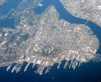 Aerial view of the city with Puget Sound Naval Shipyard at the bottom