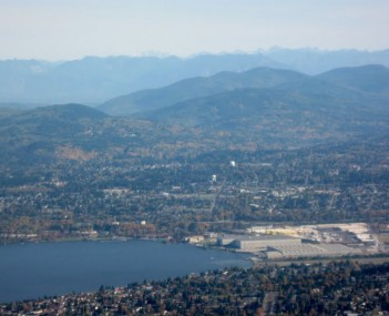 Aerial view of south end of Lake Washington