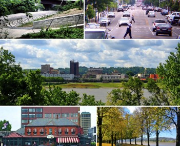 Clockwise: the Paul Ambrose Trail for Health , Fourth Avenue, the downtown skyline as seen from across the Ohio River, Harris Riverfront Park, and the Huntington Welcome Center at Heritage Station.