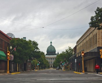 Looking east at downtown Rhinelander with view of the Oneida County Courthouse dome